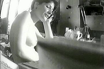 Naked roommate gives jerk off material