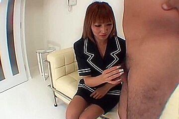 Nasty Japanese cock sucker receives coarse doggy style fucking