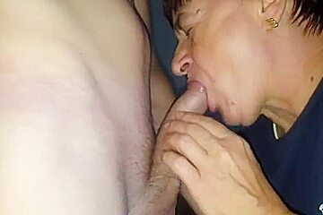 Granny blow piss and creampie