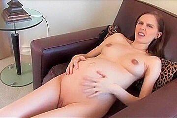 Hot Preggo girl fucking her pussy