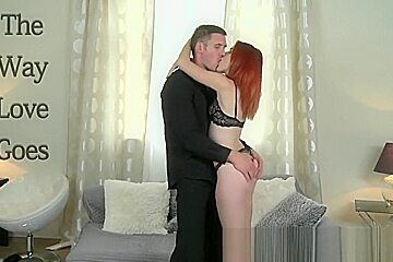 Redhead goth with great ass and shaved pussy fucked to orgasm