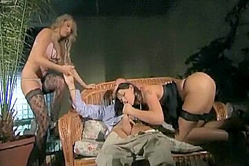 Threeway in thigh high lingerie