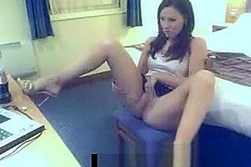 Horny girl pissing on web cam