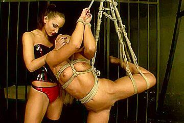 Horny lesbians love bondage sex