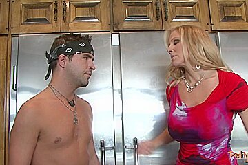Busty stepmom fucking and sucking cock