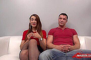 Brunette pornstar casting and cumshot