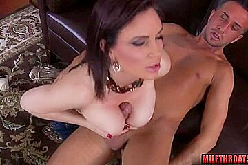 Brunette milf titty fuck and swallow
