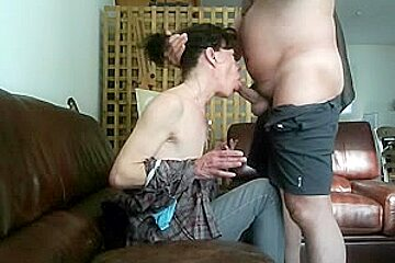 My boss face-fucking his dirty mature wife with his old prick