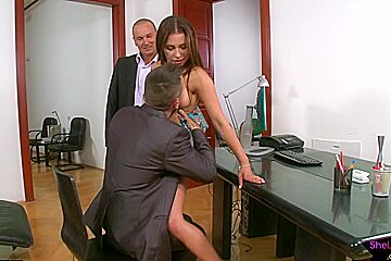 Doggystyled euro babe tastes jizz in threeway