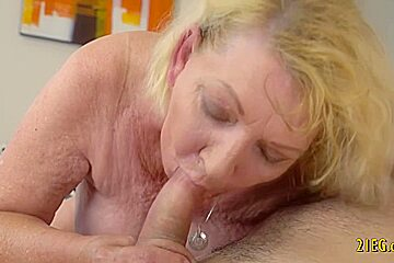 Big ass blonde granny fucked by her boy toy