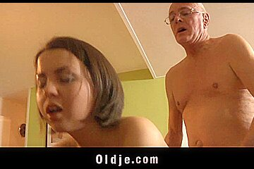 Teeny encourage old geezer with fuck