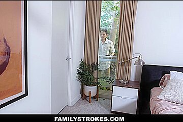 FamilyStrokes - Busty Latina Works a Big White Cock