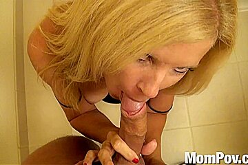 Blonde milf takes a veiny cock in her dirty mouth