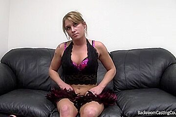 Blonde babe with big boobs falling for the tricky casting agent