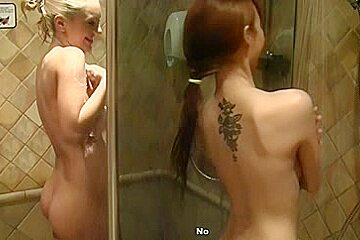 2 youthful beauties drilled in the sauna