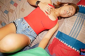 Natural curvy Thai amateur hooker oral sex and fucked