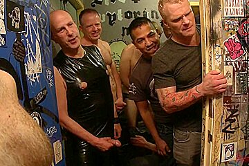 Bound in Public. Muscled DJ tied to the toilet and ass fucked in front of a horny crowd