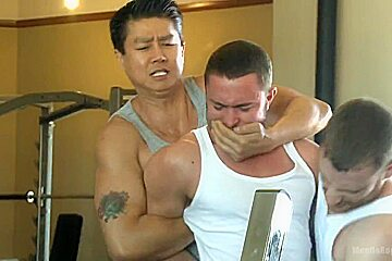 Gym jock taken down and edged against his will