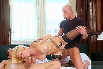Landing Strip MILF Stacy Silver at Hard DP Anal Sex 3some