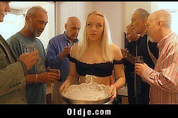 Seven grandpas gang bang young blonde at a meeting