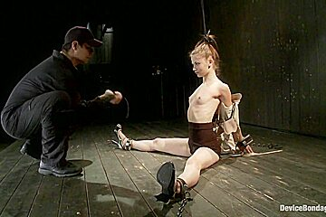 Destructive orgasms this Little Brunette is made to cum in stressful bondage