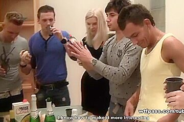 Sexy blondie tries anal sex at drunk party