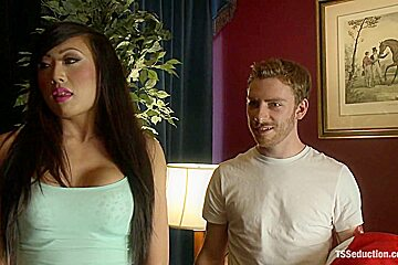 TS THREESOME SEDUCING and FUCKING THE BLACKMAILING COLLEGE DEAN