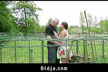 Grandpa farmer man fucks countryside teeny