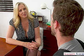 Julia Ann is sucking cock like a real pro and getting fucked hard, in the classroom
