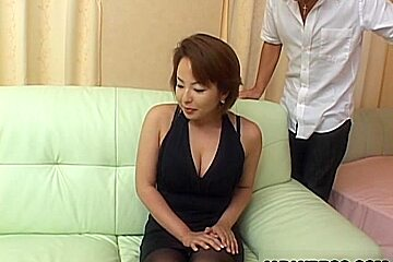 Japanese milf in stocking gets nasty with two young studs