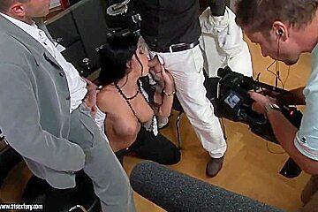 Busty Aletta Ocean gets dp in the horny backstage scenes