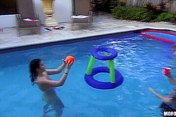 Young girls Marissa Jordan and Skarlit Knight fucked at the pool party