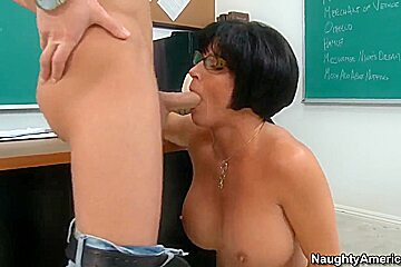 Seth Gamble gets sucked by mature whore Shay Fox