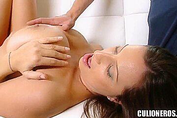 Heavy chested slut Sensual Jane does titjob in pov