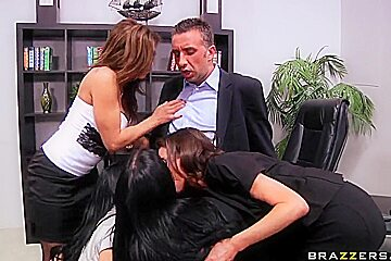 Wonderful dirty orgy with amazing bitches in the office