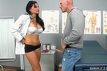 Busty nurse Aletta Ocean naughtily plays with Johnny Sins