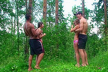 Alika & Milana Fox & Monica B. & Vicktoria Tiffany in outdoor group fucking with nasty naked students