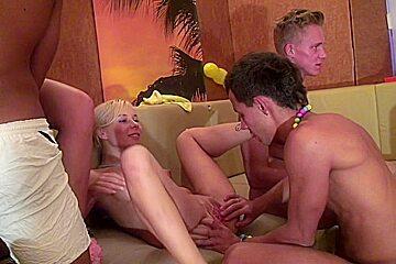 Angel & Cofi & Elisse & Tanata & Yuki in lustful group sex action with hot student girls