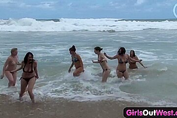 Girls Out West - Nasty lesbian orgy at the beach