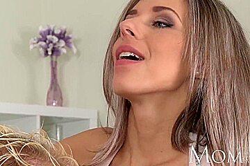 MOM Blonde milf enjoys slow blowjob before full on sex