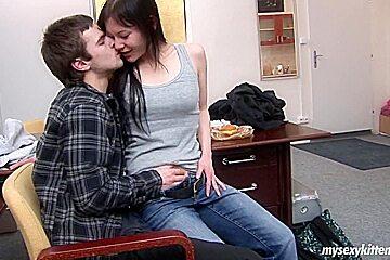 Angelic brunette teen sucking cock