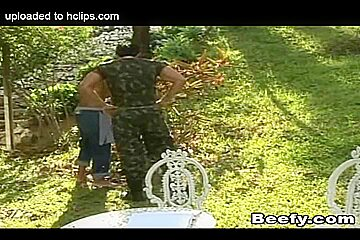 Horny Muscle Gay Gets His First Time Fuck In The Garden