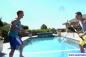 Athletic straight jock facefucked outdoors