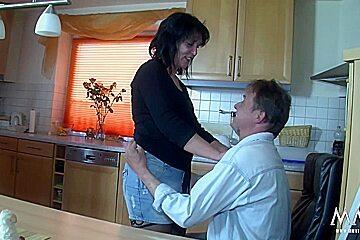 German Mature banged in the kitchen