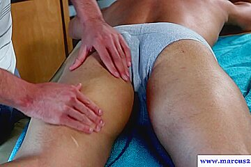Muscular straight jock assfucks masseur