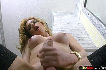 Blonde TS in sexy stockings surprises with long cock