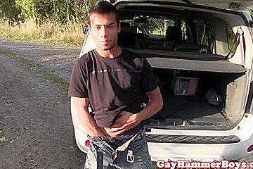 Solo ethnic twink stroking his cock in car