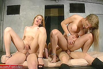 Four trannies dance and fuck in private anal orgy