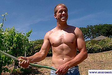 Muscled straight farmboys assfuck on hay bale