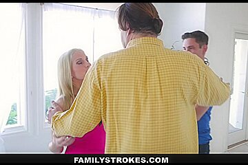 FamilyStrokes - Hot Gold-Digging Step-Mom Fucks StepSon